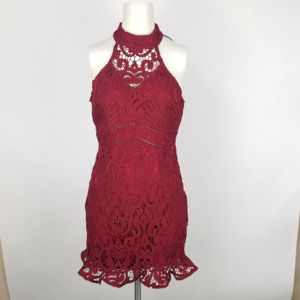 Shareen Lace Overlay Fluted Dress NWT